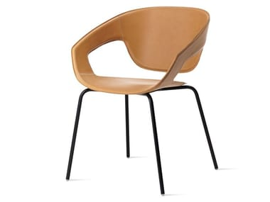 Tanned leather chair with armrests VAD IMPILABILE CUOIETTO