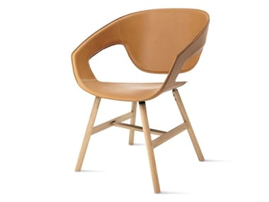 Tanned leather chair with armrests VAD WOOD CUOIETTO