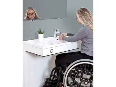 Height-adjustable washbasin for disabled VANITY