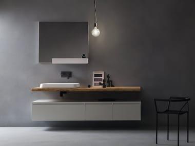 Piano lavabo in legno massello EDEN | Piano lavabo singolo