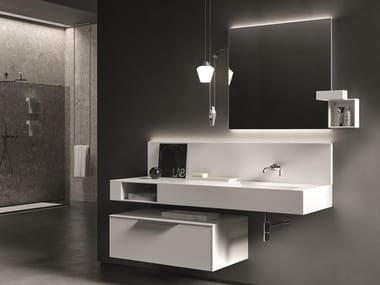 Wall-mounted laminate vanity unit with mirror NEROLAB | Vanity unit