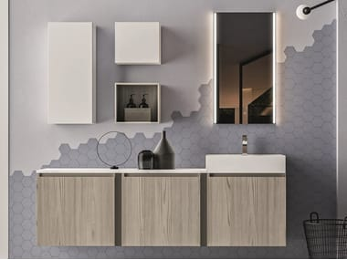 Wall-mounted melamine-faced chipboard vanity unit with cabinets SEGNO | Vanity unit with cabinets