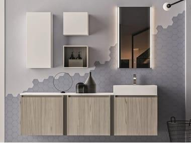 Mobile lavabo sospeso in nobilitato con armadio SEGNO | Mobile lavabo con armadio
