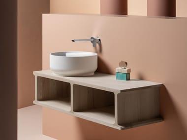 Mueble bajo lavabo simple suspendido de fresno BEAM | Mueble bajo lavabo