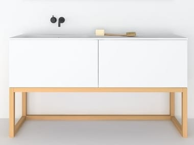 Floor-standing lacquered MDF vanity unit MODULO | Vanity unit