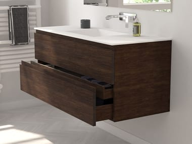 Wall-mounted oak vanity unit with drawers MODULO WOOD | Vanity unit with drawers
