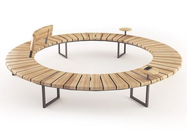 Round Sectional steel and wood Bench VARIATIONS | Round Bench
