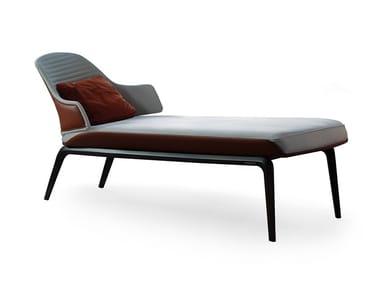 Chaise longue tapizada de cuero VELA | Chaise longue