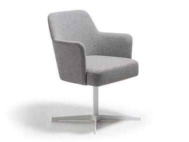 Fabric chair with 4-spoke base with armrests VELOUR | Chair with 4-spoke base