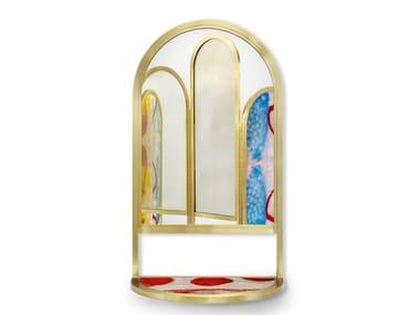 Oval wall-mounted framed mirror VELVET MIRROR