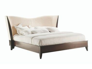 Wood veneer queen size bed with upholstered headboard VENDÔME | Bed
