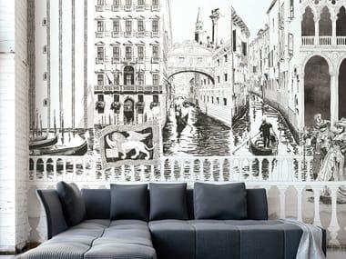 Papel de parede retardante de fogo de fibra de vidro com paisagem VENEZIA 73