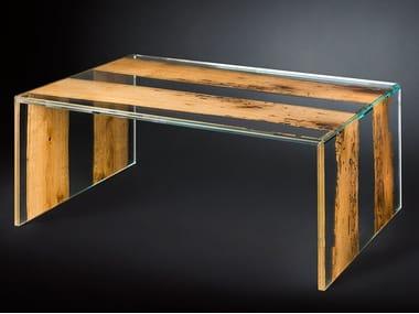 Rectangular wood and glass coffee table VENEZIA | Rectangular coffee table