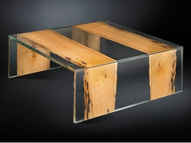 Square wood and glass coffee table VENEZIA | Square coffee table