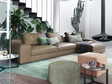 Sectional leather sofa with chaise longue VENISE | Leather sofa