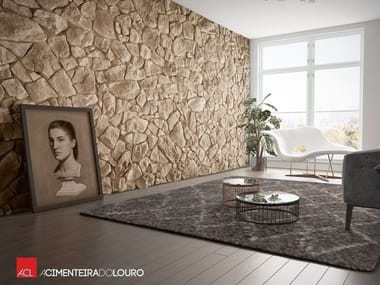 Indoor concrete wall tiles with stone effect VÉNUS | Indoor wall tiles