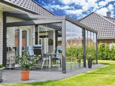 Glass and aluminium Veranda Gardenroom with Glass Sliding Wall