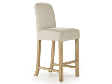 High linen and oak stool with footrest VERBIER | Stool
