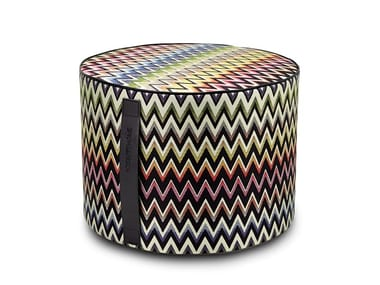 Pouf cilindro in tessuto jacquard VERNAL | Pouf