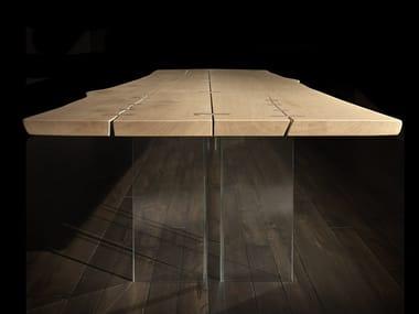 Tavolo rettangolare in legno e vetro VERO L620 | Tavolo in legno e vetro