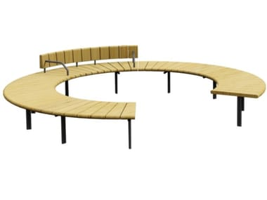 Round wooden Bench with back VERONA