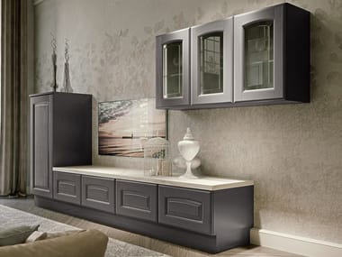 Lacquered solid wood storage wall VERONICA | Solid wood storage wall