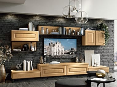 Wall-mounted solid wood storage wall VERONICA | Storage wall