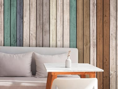 Papel de parede adesivo antialérgico ecológico de tecido estilo moderno VERTICAL WOOD