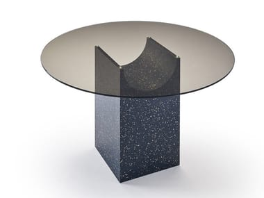 Round glass table with iQ Surface base VESTIGE | Round table