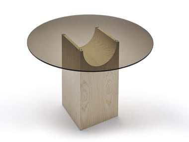 Round wood and glass table VESTIGE | Wood and glass table