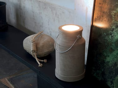 LED indirect light cement Outdoor table lamp VIA LATTEA