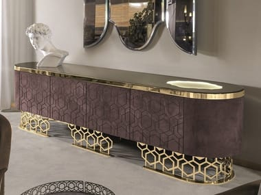 Leather sideboard with integrated lighting VICKY | Sideboard with integrated lighting