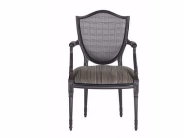 Upholstered fabric chair with armrests VICTORIA | Chair with armrests