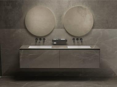 Double wall-mounted porcelain stoneware vanity unit VICTORIA | Double vanity unit