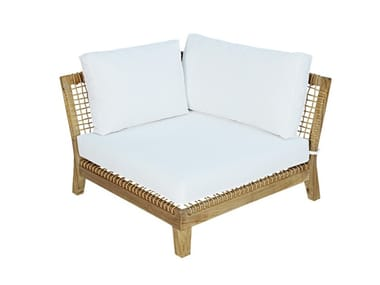 Corner module for sectional sofa in teak and rope VIENNA CORNER
