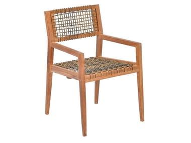 Rope and teak garden chair with armrests VIENNA | Garden chair