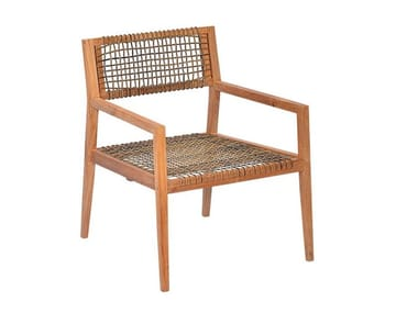 Garden rope and teak easy chair with armrests VIENNA | Garden easy chair