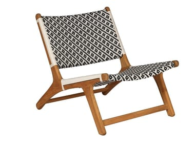 Garden teak and synthetic easy chair VIENNA RELAX BLACK & WHITE FLOWER