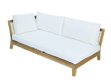 Left / Right module for sectional sofa in teak and rope VIENNA RIGHT / LEFT