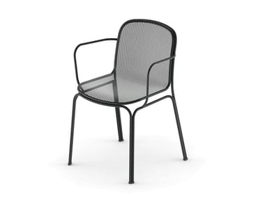 Stackable wire mesh chair with armrests VILLA 2