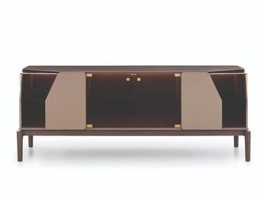 Madia in legno e vetro con ante a battente con illuminazione integrata VINE | Madia