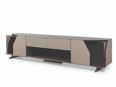 Wooden TV cabinet with leather doors and drawers VINE | TV cabinet