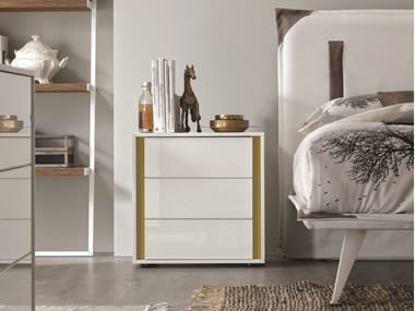 Wood and glass bedside table with drawers VIP CRISTAL