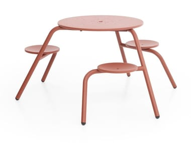 Round metal picnic table with integrated seats VIRUS 3-SEATER