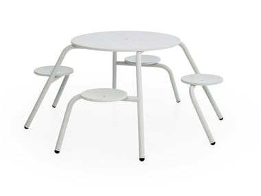 Round picnic table with integrated seats VIRUS 4-SEATER