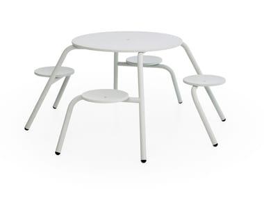Tavolo da picnic rotondo con sedie integrate VIRUS 4-SEATER