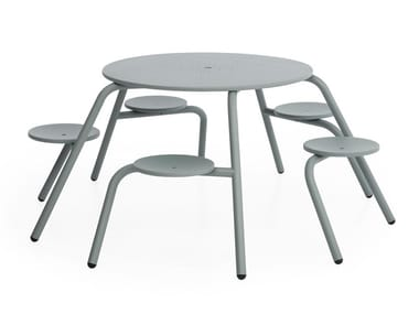 Round metal picnic table with integrated seats VIRUS 5-SEATER