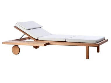 Recliner teak sun lounger with castors VIS À VIS | Sun lounger with castors