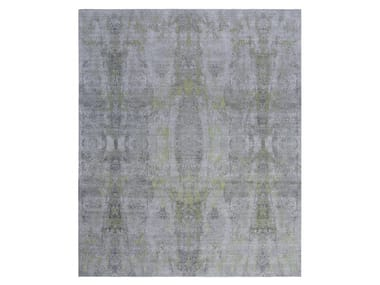 Handmade custom rug VISUAL GREY LIME