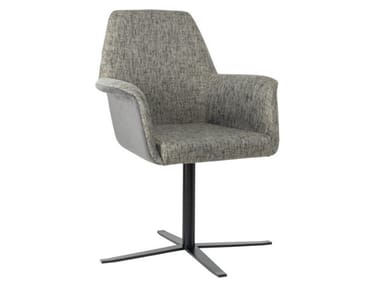 Fabric chair with 4-spoke base with armrests and metal base VIVA PO01 BASE 24